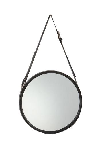 Rundt spejl med læderrem tilbud